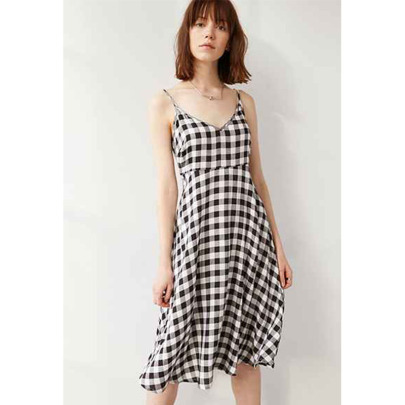 New Black And White Plaid Small V-neck Sexy Backless Suspender Big Swing Dress NSYIS58414