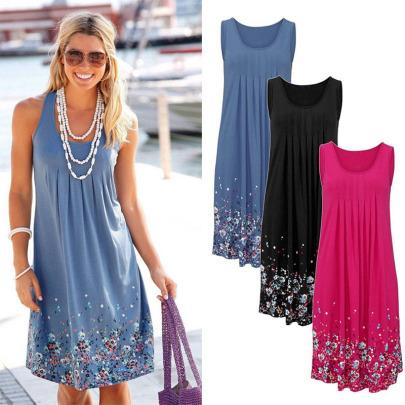 New Fashion Round Neck Pullover Print Dress  NSYIS58421