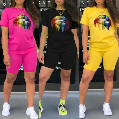 Popular Fashion Color Big Mouth Print Round Neck T-shirt Shorts Two-piece Set NSYAY58425
