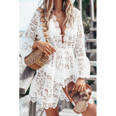 New Sexy Lace Long-sleeved V-neck Dress  NSYIS58422