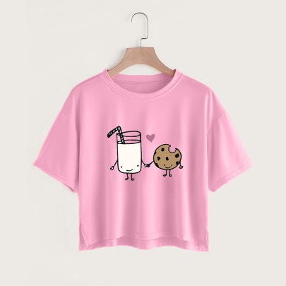 Creative Cartoon Printing Casual Short-sleeved Slit Short T-shirt  NSYAY58378