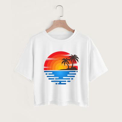 Landscape Print Casual Short-sleeved Split Short T-shirt  NSYAY58377