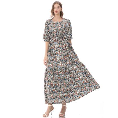 Floral Short-sleeved Waist Retro Thin And Long Clothing NSLIB58460