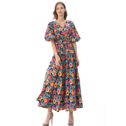 Short-sleeved Summer New Mid-length Stitching Floral Skirt NSLIB58461