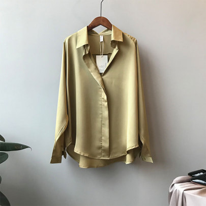 New Temperament Satin Long-sleeved Loose Solid Color Shirt NSSUO58479