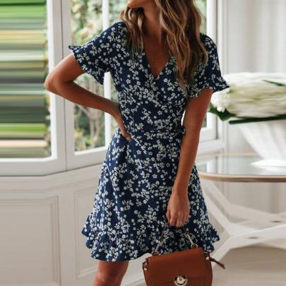 Floral Short-sleeved V-neck Waistband Ruffled Dress NSSUO58482