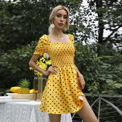 Retro Square Collar Polka Dot Off-shoulder Short Dress NSSUO58483