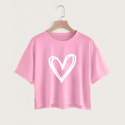 Creative Love Printing Casual Short-sleeved Split Short T-shirt Women NSYAY58474