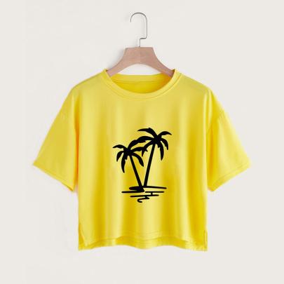 Coconut Print Casual Short-sleeved Split Short T-shirt  NSYAY58472