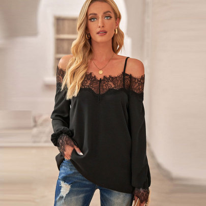 Lace Stitching Chiffon Long-sleeved T-shirt NSJC58453