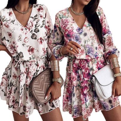 Summer New V-neck Print Dress NSJIM58438