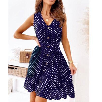 Summer New Style V-neck Polka Dot Belt Waist Sleeveless Dress NSJIM58436