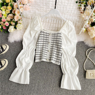 Stitching Long-sleeved Top, Age-reducing Black Knit Sweater NSSUO58435