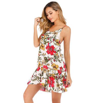 Summer New Style Printed Sling Wide Truffle Back Dress NSJIM58431