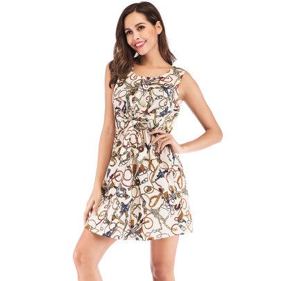 Summer New Printed Sleeveless Deep V-neck Knotted Elastic Waist Dress NSJIM58428