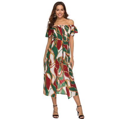 Summer New Style Wrapped Chest Flared Sleeve Dress NSJIM58426