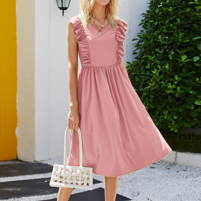 Summer New Sleeveless Solid Color Dress NSYF58570