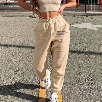 Letter Printing Loose Solid Color No Belt Casual Pants NSXE58574