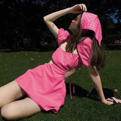 Bubble Sleeve Square Neck Sexy Backless Waist Dress NSLQ58621