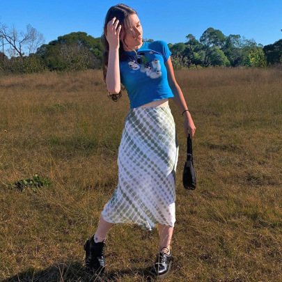 Holiday Style Irregular Tie-dye Bust A-line Long Skirt NSLQ58626