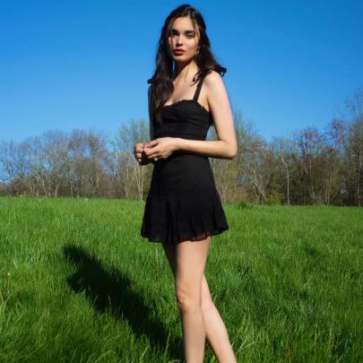 Summer New Black Lotus Leaf Slim Suspender Skirt NSLQ58630