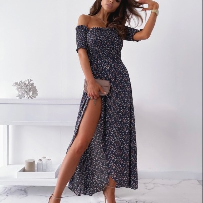 Summer New Printed Navy Sexy Dress NSAXE58639