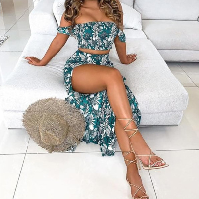 Printed Breast Wrap Pants Skirt Two-piece Set NSAXE58646