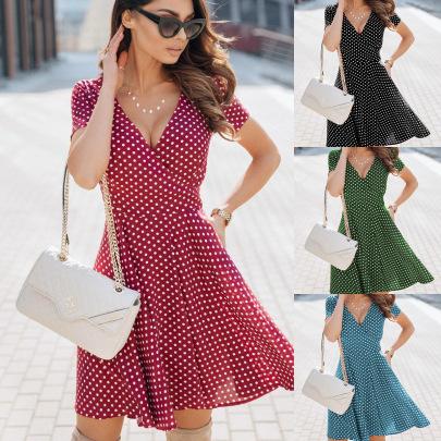Summer New Style Polka Dot Waist Dress NSAXE58648