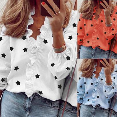 Long Sleeve Ruffled Stars Printed Shirt NSAXE58650