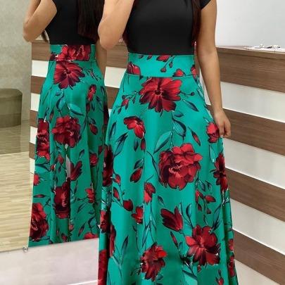 Flower Print Color Matching Long Dress NSAXE58653