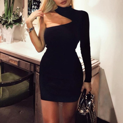 Sexy Slanted Shoulder Halter One-sleeve Dress NSAXE58654