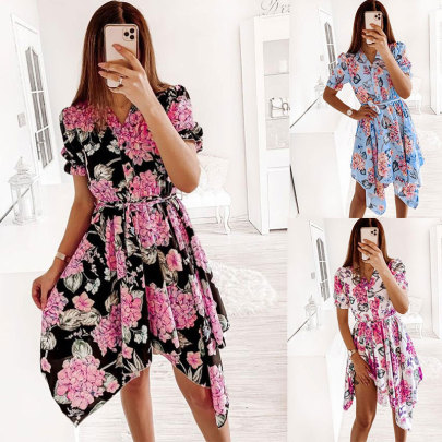 Fashion Lace-up Short-sleeved Waist Dress NSSUO58657