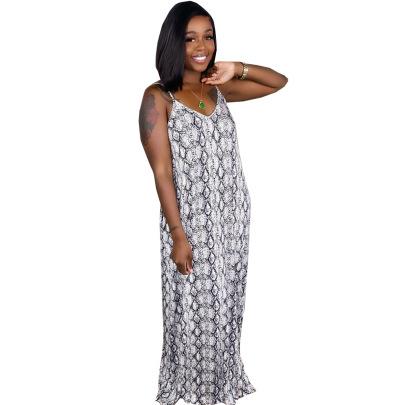 Fashion Sling Multicolor Printed Loose Long Skirt NSSJW58673