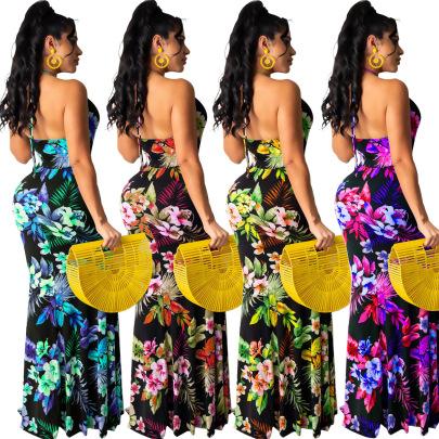 Fashion Sexy Halter Halter Printed Long Skirt Dress NSSJW58832