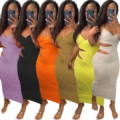 Fashion Sexy Solid Color Halter Hollow Dress  NSSJW58844
