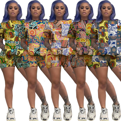 Fashion Round Neck Slim Short Shorts Irregular Printing Set NSSJW58852