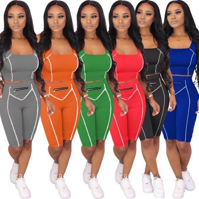 Spot Fashion Sexy Solid Color Sports Set NSSJW58859