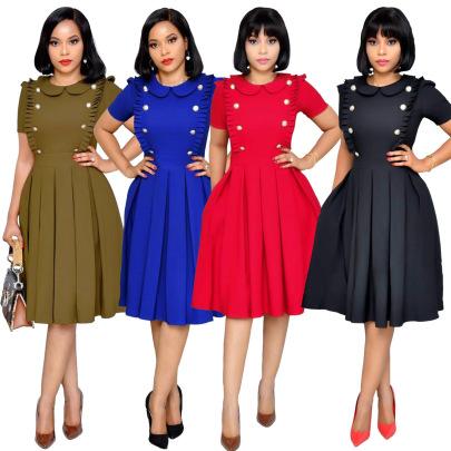 Fashion Lotus Leaf Collar Folds Short-sleeved Pleated Skirt NSSJW58864