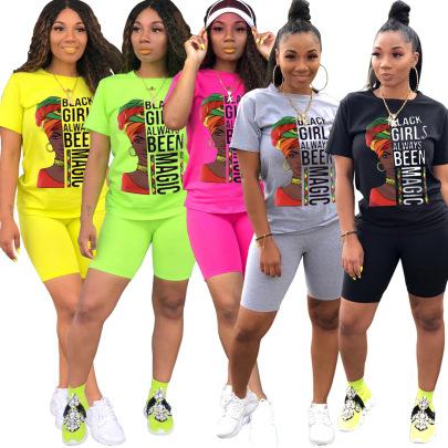 Fashion Casual Sports Printing Round Neck Short-sleeved Set NSSJW58868