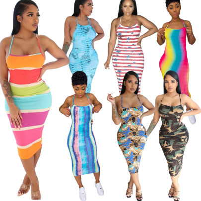 Fashion Sexy Printed Sling Halter Dress NSSJW58871