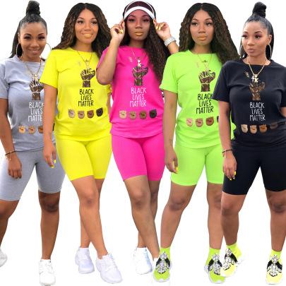 Fashion Casual Sports Printing Round Neck Short-sleeved T-shirt Set NSSJW58873