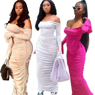 Spot Fashion Casual Backless Long-sleeved Long Skirt Set NSSJW58878