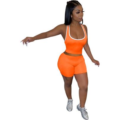 Fashion Casual Solid Color Vest Shorts Set NSSJW58879