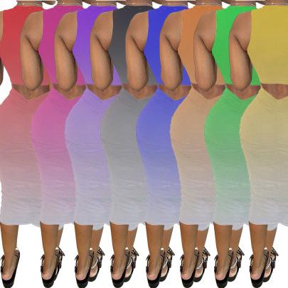 Fashion Casual Sling Sleeveless Pleated Dress  NSSJW58888