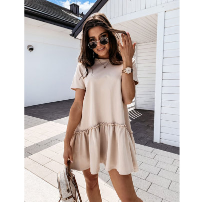 Summer New Summer Solid Color Short-sleeved Home Loose Round Neck Ruffle Dress NSJIM58960