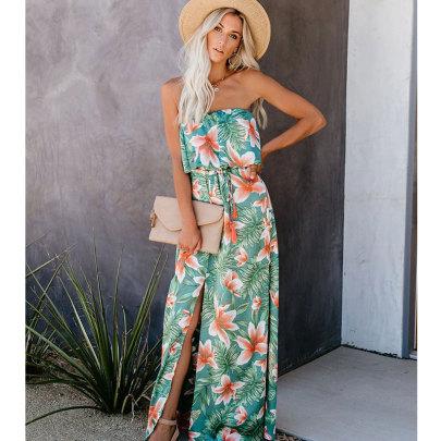 Summer New Tropical Rainforest Print Off-shoulder Ruffled Split Dress NSJIM58959