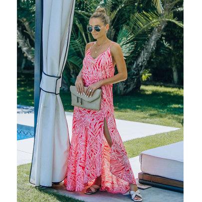 Summer New Leaf Print Irregular Big Suspender Dress NSJIM58957
