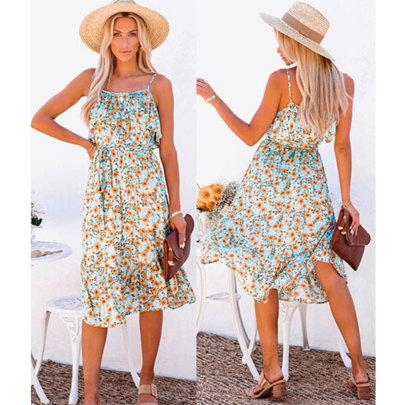Summer New Style Flower Print Ruffled Sling Mid-length Dress NSJIM58954
