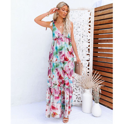 Summer New Style Long Dress With Tie-dye Printing Bandage Big Swing Wooden Ears NSJIM58952