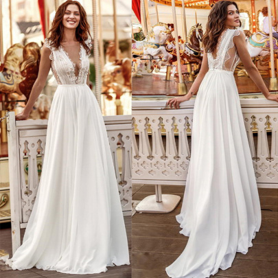 V-neck Long White Mid-waist Evening Dress NSYAY58943